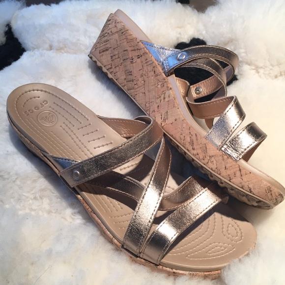 24474dc969df3a CROCS Shoes - Crocs Women A-Leigh Metallic Leather Mini Wedge